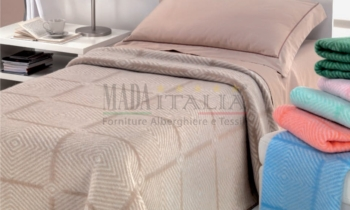Vendita Coperta Hotel Jacquard Misto Lana Double Face Optical