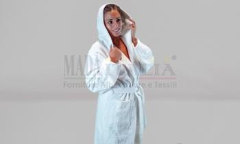 Vendita Accappatoio Spugna Bianco Cappuccio 400 Grammi