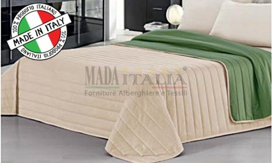 Copriletto Trapuntato Verde Scuro/Panna Mada Italia