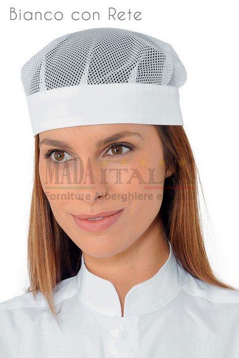 Vendita Cappellino Ristorazione Bob Bianco con Rete