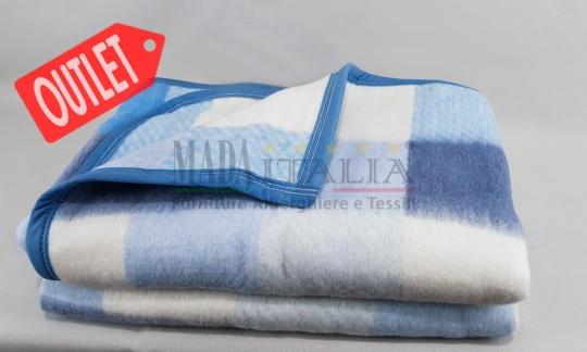 Vendita Coperta Offerta Letto Hotel Tirolo Misto Lana Blu Azzurro