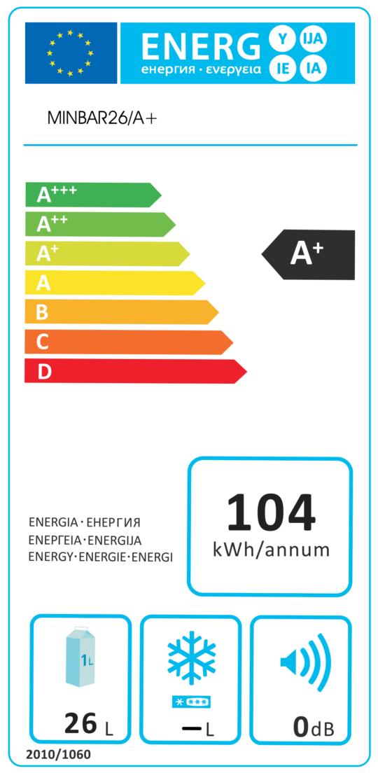 Etichetta Energetica Minibar Camera Hotel 26 Litri