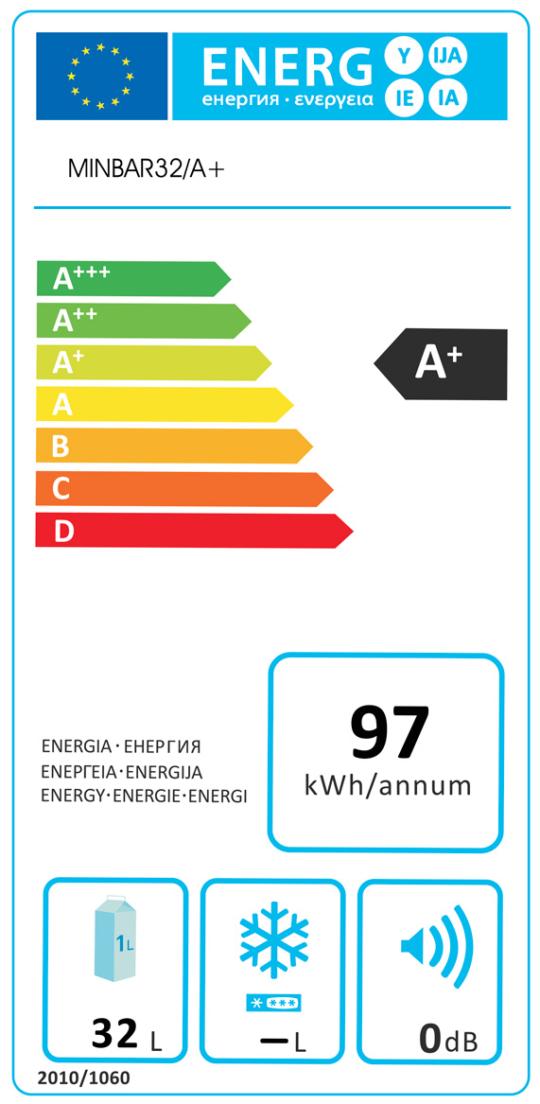 Etichetta Energetica Minibar Camera Hotel 32 Litri