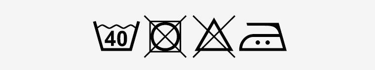 simboli lavaggio 40/no asciugatrice/no candeggio/stiro 2