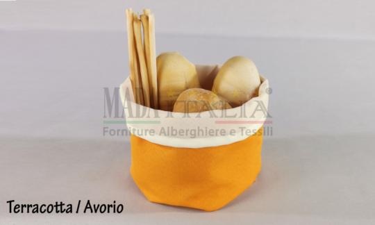 Vendita Cestino Portapane Stoffa Antimacchia Terracotta Avorio