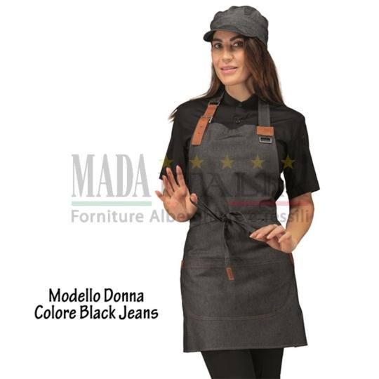 Vendita Grembiule Pettorina Bretella Regolabile Modello Donna Black Jeans