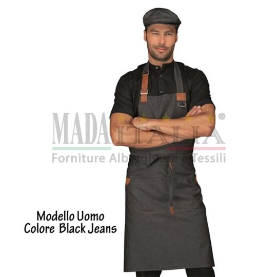 Vendita Grembiule Pettorina Bretella Regolabile Modello Uomo Black Jeans